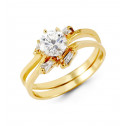 14k Yellow Gold Band Bride Round Baguette CZ Ring Set