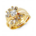 14k Yellow Gold Round Marquise CZ Bride Band Ring Set