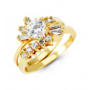 14k Yellow Gold Band Round Baguette CZ Bride Ring Set