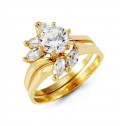 14k Yellow Gold Round Marquise CZ Bypass Bride Ring Set