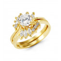 14k Yellow Gold Marquise Round Crown CZ Bride Ring Set