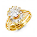 Solid 14k Yellow Gold Baguette Round CZ Bride Ring Set