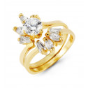 14k Yellow Gold Round Marquise Baguette CZ Bride Rings