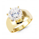 14k Yellow Gold Round CZ Large Crown Solitaire Ring