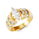 Ladies 14k Solid Gold Round CZ Right Hand Fashion Ring
