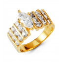 14k Yellow Gold Band Marquise Round CZ Fashion Ring