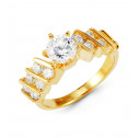 14k Solid Gold Band Round CZ Right Hand Fashion Ring