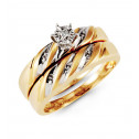 10k Yellow White Gold Round Diamond Engagement Ring Set