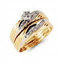 10k Yellow White Gold Round Diamond Wedding Ring Set