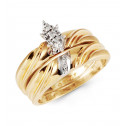 10k Yellow Gold Round Cut Diamond Engagement Ring Set