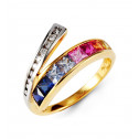 10k Yellow Gold Princess Cut Diamonds Gemstones Ring