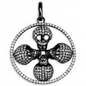 New 14k Gold Black Rhodium Multi Skull Diamond Pendant