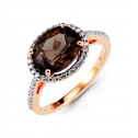 14k Rose Gold Oval Smoky Topaz White Round Diamond Ring