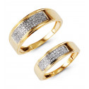 14k Gold Round Channel Set Diamond Wedding Band Set