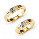 New Round Cut Channel Diamond 14k Gold Wedding Band Set