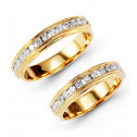 14k Yellow Gold Channel Diamond Wedding Band Ring Set