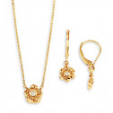 New 14k Yellow Gold Diamond Flower Necklace Earring Set
