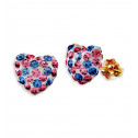 14k Yellow Gold Round Blue Pink CZ Heart Stud Earrings