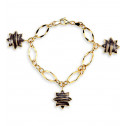 14k Yellow Gold Tiger Print Enamel Star Charm Bracelet