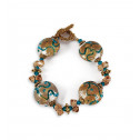 Tan Teal Scroll Round Glass Beads Gold Tone Bracelet