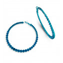 Polished Round Teal CZ Extra Large Blue Hoop Earrings