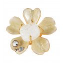 Womens White CZ Clear Crystal Flower Gold Tone Ring