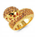 Womens Polished Round Champagne CZ Gold Tone Bead Ring