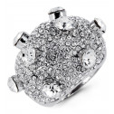 Womens White Round CZ Domed Fashion Silver Tone Ring