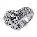 Womens Polished Bead Silver Tone White CZ Fashion Ring