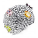 Ladies Polished Multi-Color CZ Silver Tone Domed Ring