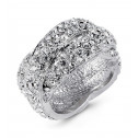 Ladies Polished Silver Tone Round White CZ Twist Ring