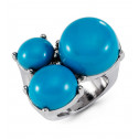 Womens Turquoise Color Stones Silver Tone Fashion Ring
