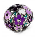 Ladies Multi-Color Enamel CZ Flower Silver Tone Ring