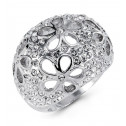 Ladies White CZ Silver Tone Flower Cutout Fashion Ring