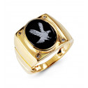 Mens 10k Yellow Gold Round Diamond Oval Onyx Eagle Ring