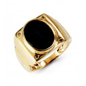 10k Yellow Gold 0.06 Ct Round Diamond Oval Onyx Ring