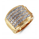 Mens Solid 10k Yellow Gold 1.50 Ct Round Diamond Ring