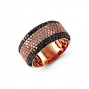 14k Rose Gold 1.46 Ct Black White Round Diamond Band