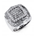14k White Gold Princess Round Baguette Diamond Ring