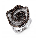 14k White Gold Brown Round Diamond Flower Fashion Ring