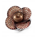 14k White Gold Natural Pearl Brown Round Diamond Ring