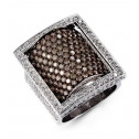 14k White Gold Black Rhodium Brown 5.06 Ct Diamond Ring