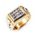 Mens 14k Yellow White Gold 0.82 Ct Round Diamond Ring