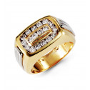 Mens 14k Yellow White Gold 1.20 Ct Round Diamond Ring
