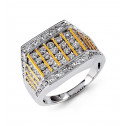 Mens 14k White Yellow Gold 2.19 Ct Round Diamond Ring