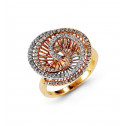 14k Yellow White Gold 0.53 Ct Round Diamond Spiral Ring
