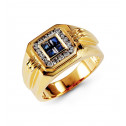 14k Yellow Gold Sapphire 0.42 Ct Round Diamond Ring