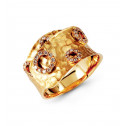 14k Yellow Gold Hammered 0.35 Ct Round Diamond Ring