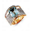 14k Yellow Gold Aquamarine 0.75 Ct Round Diamond Ring
