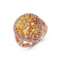 18k Rose Gold 2.68 Ct Golden White Round Diamond Ring